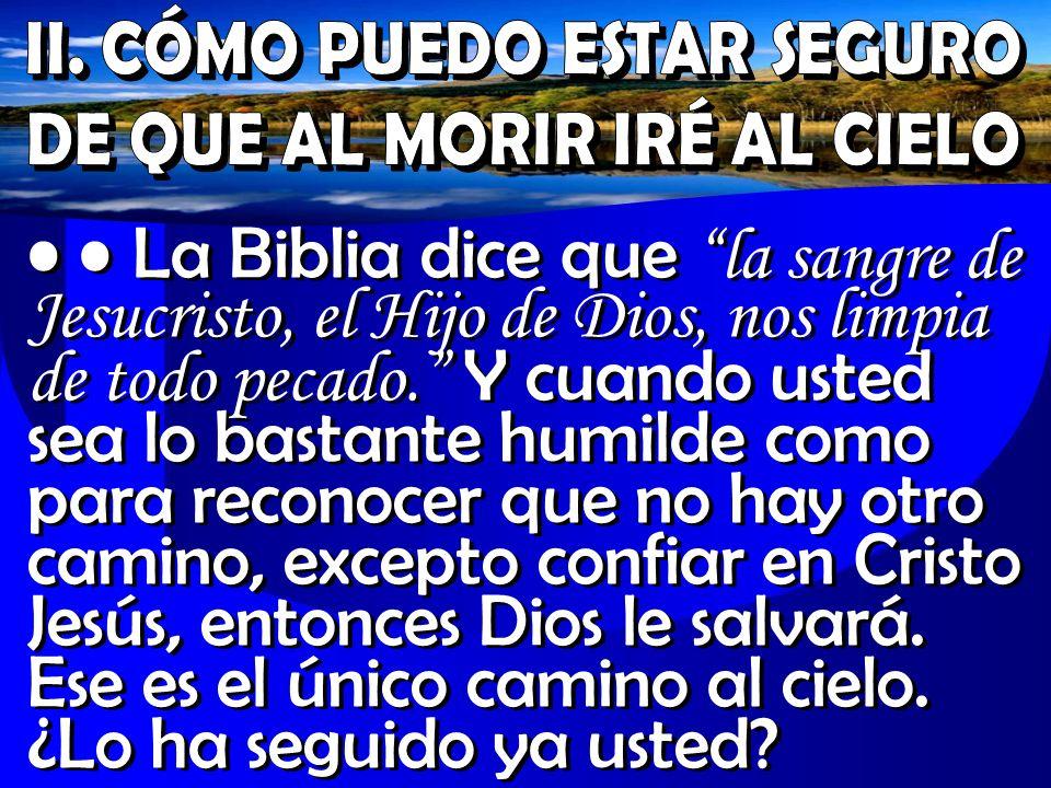La Biblia dice que la sangre de Jesucristo, el Hijo de Dios, nos limpia de todo pecado. Y cuando usted sea lo bastante humilde como para reconocer que