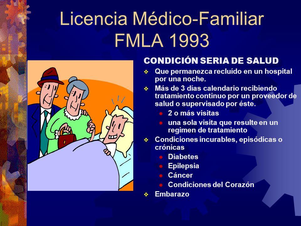 Licencia Médico-Familiar FMLA 1993 ¿Cómo se mide el año? Calendario Año fijo; ej. fiscal, aniversario 12 meses desde la primera licencia bajo FMLA Rol