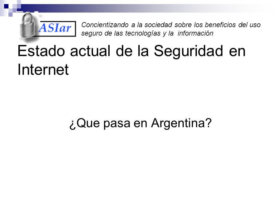 Concientizando a la sociedad sobre los beneficios del uso seguro de las tecnologías y la información Estado actual de la Seguridad en Internet ¿Que pasa en Argentina