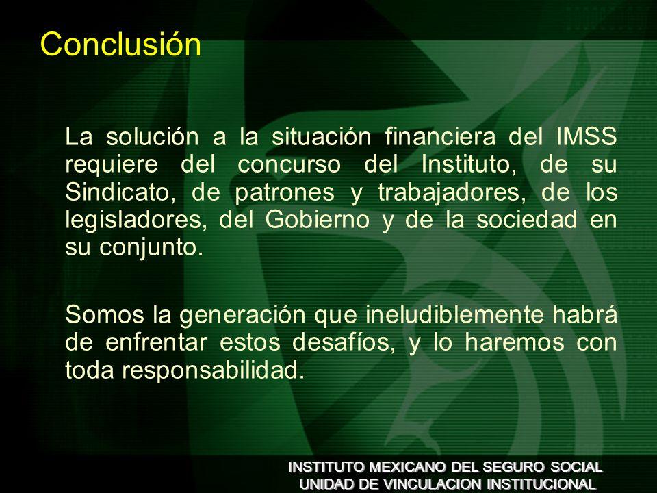 INSTITUTO MEXICANO DEL SEGURO SOCIAL UNIDAD DE VINCULACION INSTITUCIONAL INSTITUTO MEXICANO DEL SEGURO SOCIAL UNIDAD DE VINCULACION INSTITUCIONAL Conclusión La solución a la situación financiera del IMSS requiere del concurso del Instituto, de su Sindicato, de patrones y trabajadores, de los legisladores, del Gobierno y de la sociedad en su conjunto.