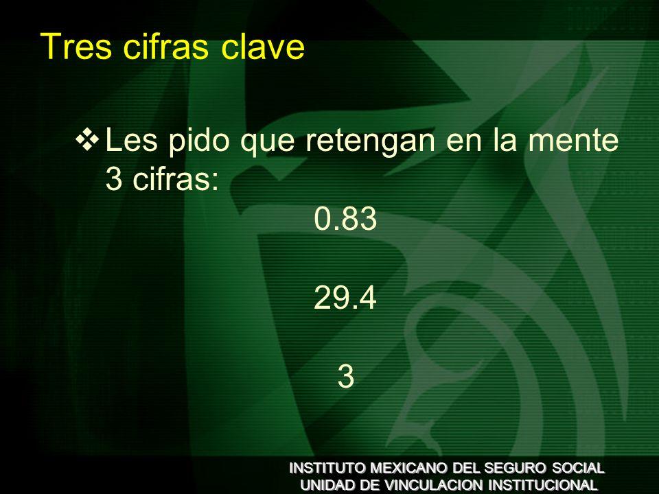 INSTITUTO MEXICANO DEL SEGURO SOCIAL UNIDAD DE VINCULACION INSTITUCIONAL INSTITUTO MEXICANO DEL SEGURO SOCIAL UNIDAD DE VINCULACION INSTITUCIONAL Tres cifras clave Les pido que retengan en la mente 3 cifras: 0.83 29.4 3