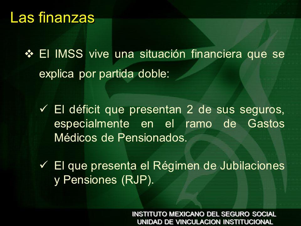INSTITUTO MEXICANO DEL SEGURO SOCIAL UNIDAD DE VINCULACION INSTITUCIONAL INSTITUTO MEXICANO DEL SEGURO SOCIAL UNIDAD DE VINCULACION INSTITUCIONAL El IMSS vive una situación financiera que se explica por partida doble: El déficit que presentan 2 de sus seguros, especialmente en el ramo de Gastos Médicos de Pensionados.