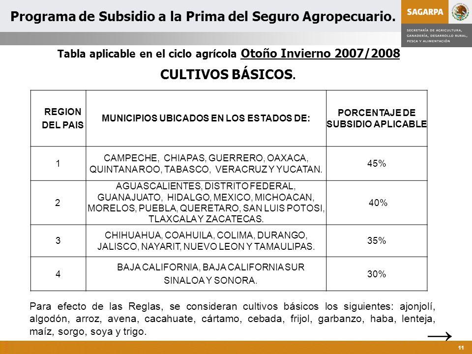 Programa de Atención a Contingencias Climatológicas 11 REGION DEL PAIS MUNICIPIOS UBICADOS EN LOS ESTADOS DE: PORCENTAJE DE SUBSIDIO APLICABLE 1 CAMPECHE, CHIAPAS, GUERRERO, OAXACA, QUINTANA ROO, TABASCO, VERACRUZ Y YUCATAN.