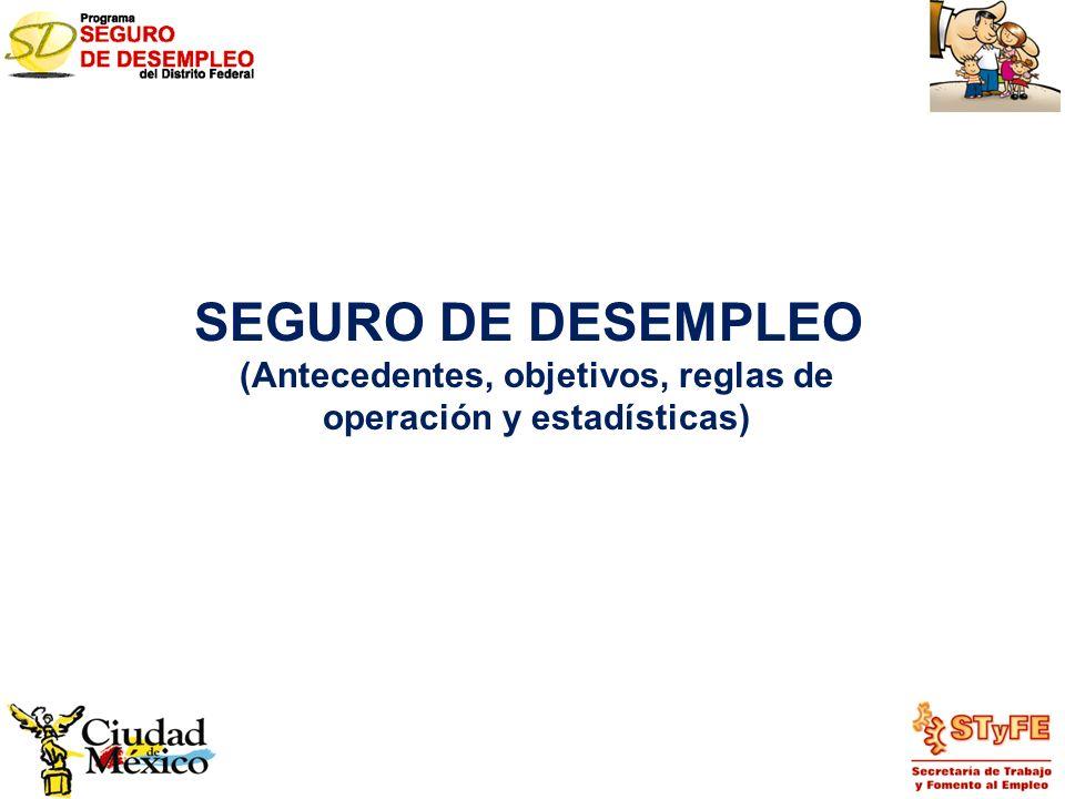 SEGURO DE DESEMPLEO (Antecedentes, objetivos, reglas de operación y estadísticas)