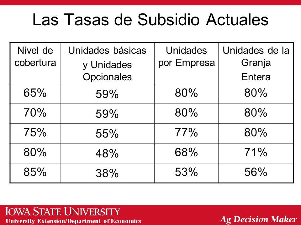University Extension/Department of Economics Las Tasas de Subsidio Actuales Nivel de cobertura Unidades básicas y Unidades Opcionales Unidades por Empresa Unidades de la Granja Entera 65% 59% 80% 70% 59% 80% 75% 55% 77%80% 48% 68%71% 85% 38% 53%56%