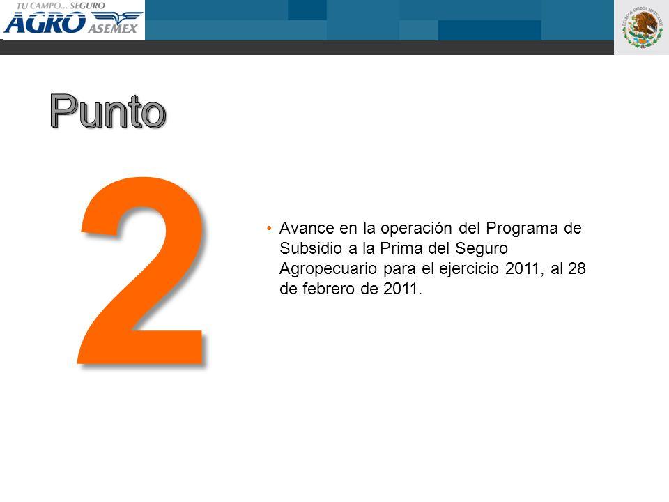 Avance en la operación del Programa de Subsidio a la Prima del Seguro Agropecuario para el ejercicio 2011, al 28 de febrero de 2011. 2