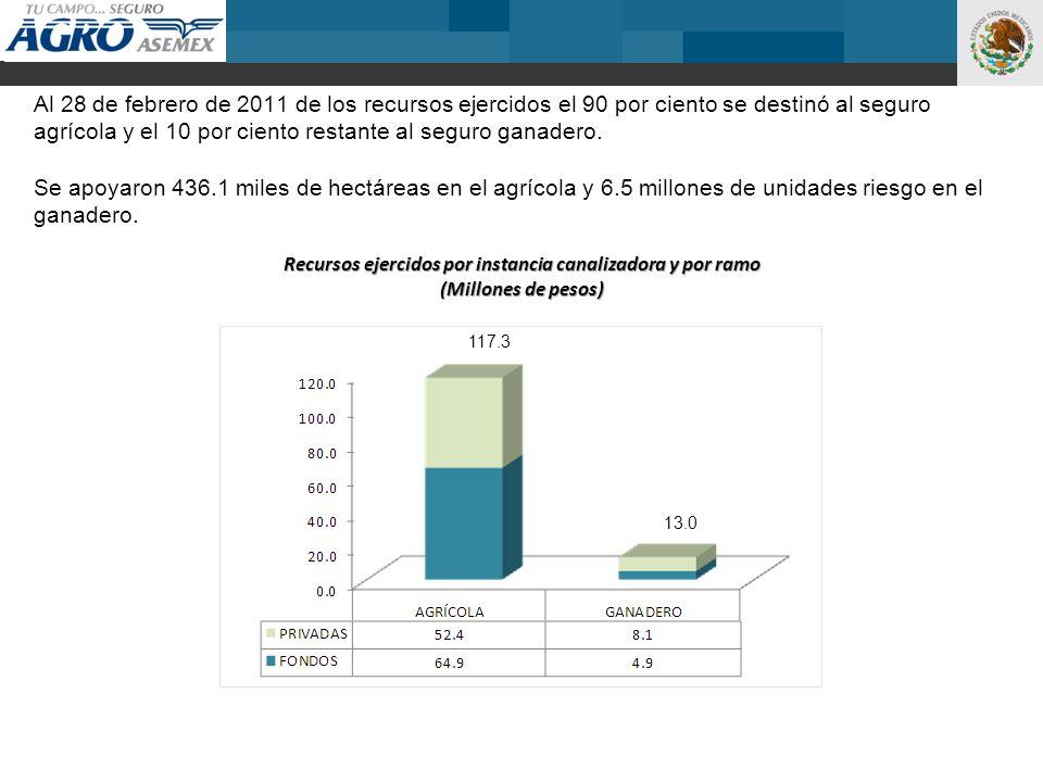Al 28 de febrero de 2011 de los recursos ejercidos el 90 por ciento se destinó al seguro agrícola y el 10 por ciento restante al seguro ganadero. Se a