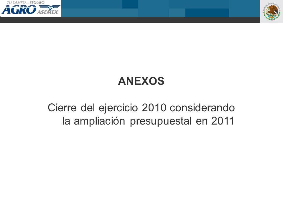 ANEXOS Cierre del ejercicio 2010 considerando la ampliación presupuestal en 2011