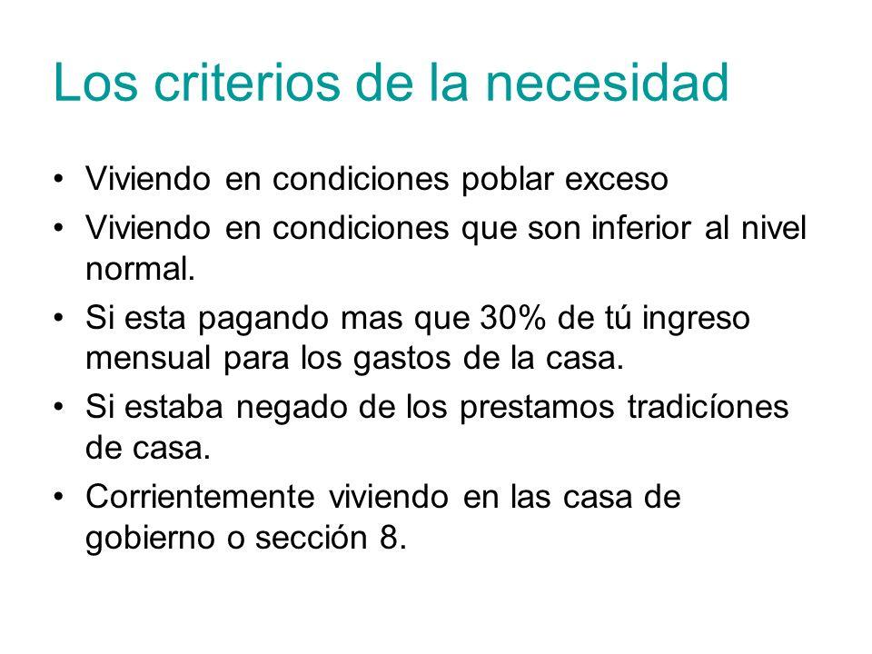 Los criterios de la necesidad Viviendo en condiciones poblar exceso Viviendo en condiciones que son inferior al nivel normal. Si esta pagando mas que