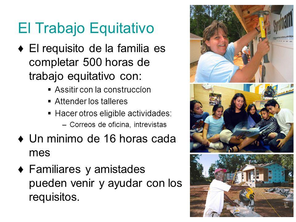 El Trabajo Equitativo El requisito de la familia es completar 500 horas de trabajo equitativo con: Assitir con la construccíon Attender los talleres H