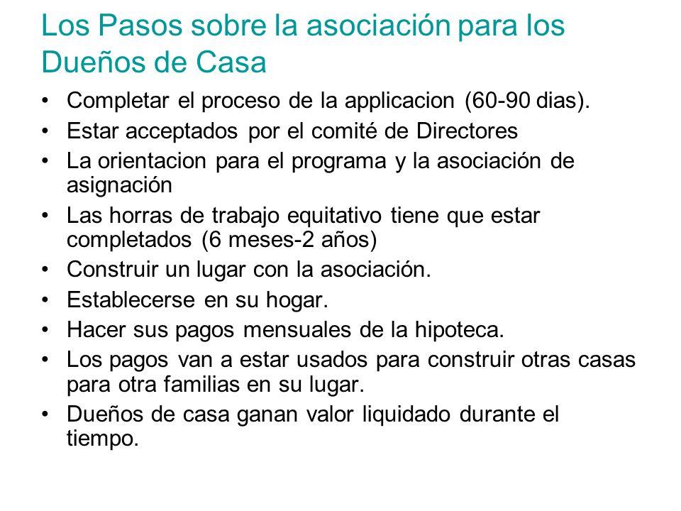 Los Pasos sobre la asociación para los Dueños de Casa Completar el proceso de la applicacion (60-90 dias). Estar acceptados por el comité de Directore