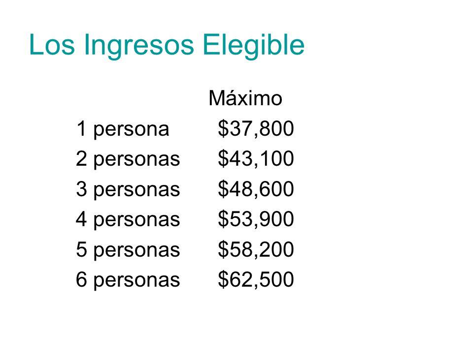 Los Ingresos Elegible Máximo 1 persona $37,800 2 personas$43,100 3 personas$48,600 4 personas $53,900 5 personas$58,200 6 personas$62,500