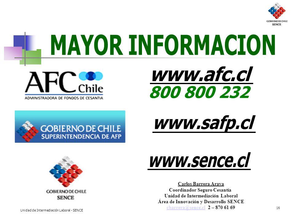 Unidad de Intermediación Laboral - SENCE 16 Carlos Barrera Araya Coordinador Seguro Cesantía Unidad de Intermediación Laboral Área de Innovación y Des