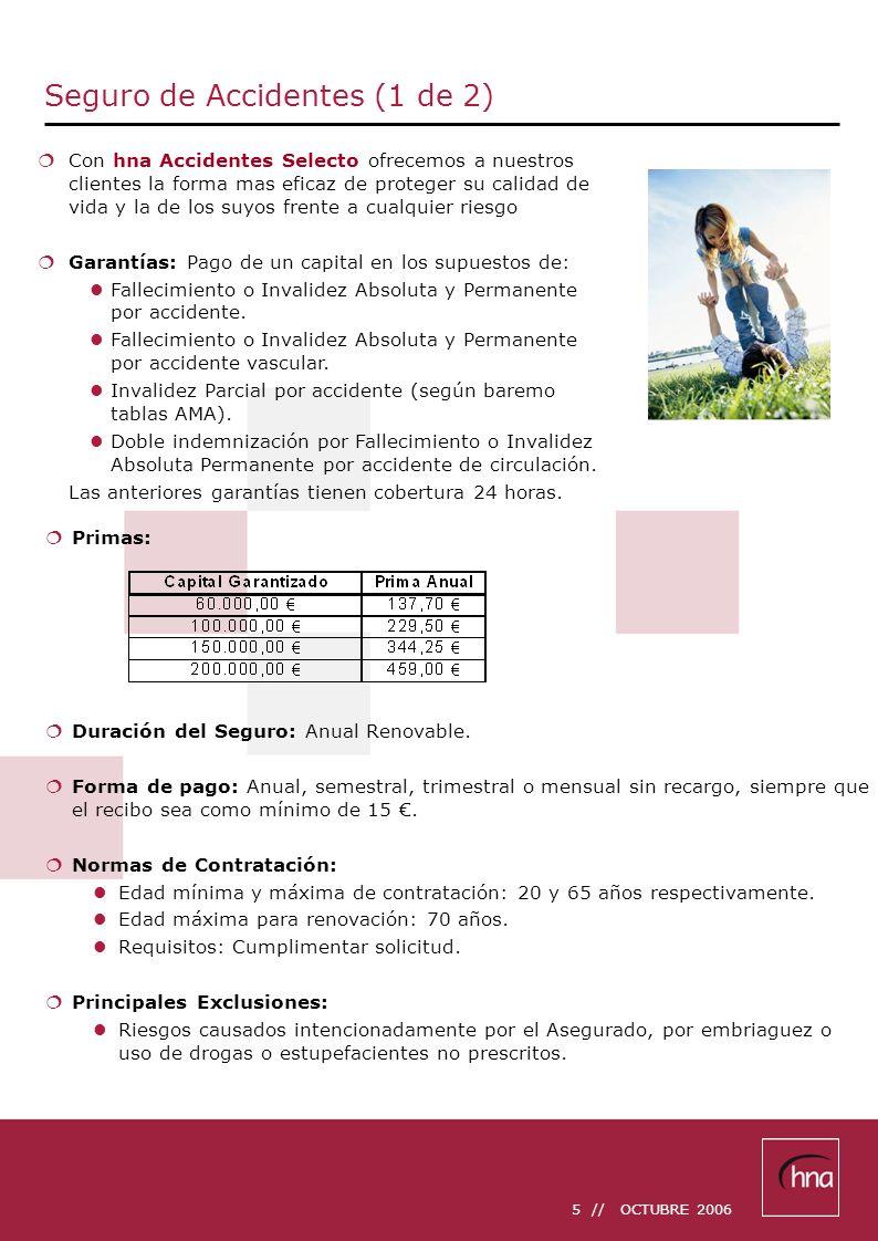 5 // OCTUBRE 2006 Seguro de Accidentes (1 de 2) Primas: Duración del Seguro: Anual Renovable. Forma de pago: Anual, semestral, trimestral o mensual si