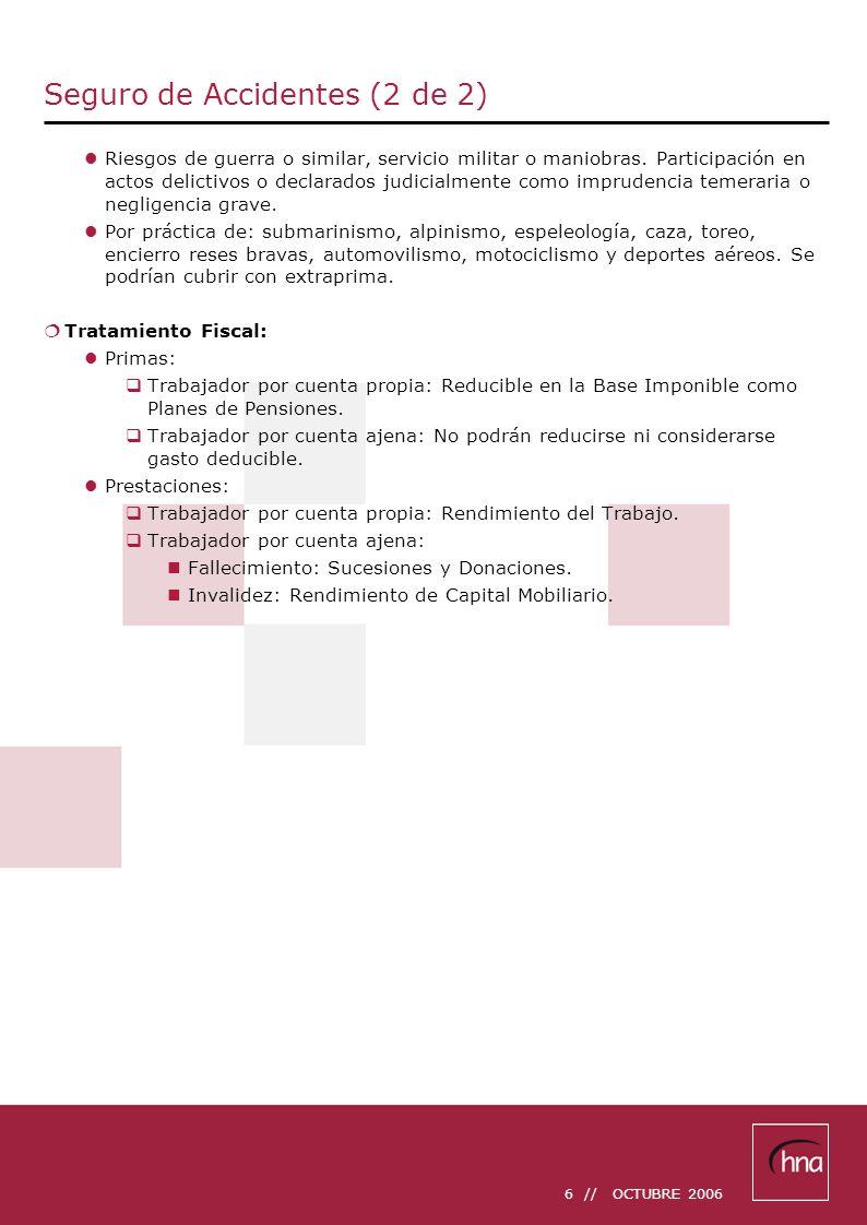 7 // OCTUBRE 2006 Seguros de Incapacidad Temporal (1 de 2) Si desea proteger su capacidad adquisitiva frente a cualquier riesgo, con nuestros productos hna IT Excelente y hna IT Selecto encontrará la solución que estaba esperando a su medida.