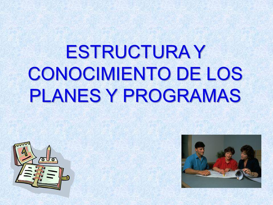 ESTRUCTURA Y CONOCIMIENTO DE LOS PLANES Y PROGRAMAS