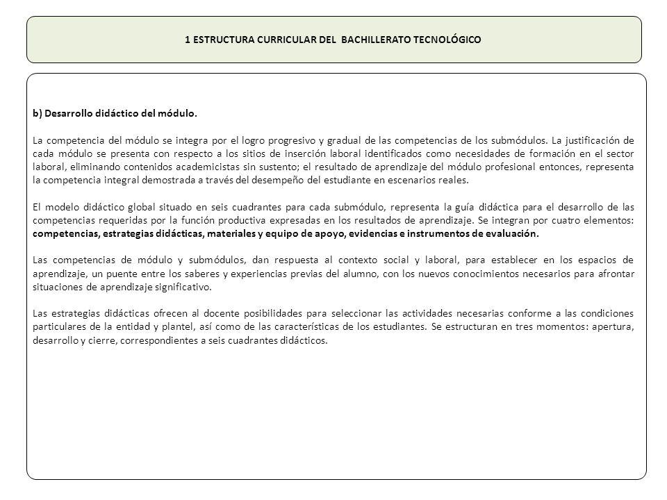 1 ESTRUCTURA CURRICULAR DEL BACHILLERATO TECNOLÓGICO b) Desarrollo didáctico del módulo.