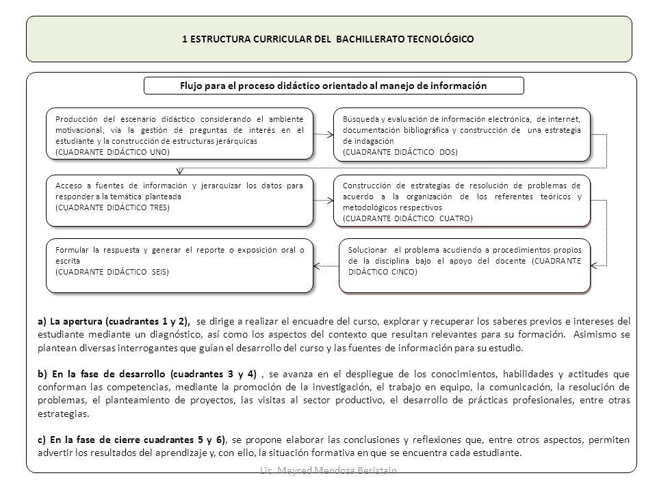 1 ESTRUCTURA CURRICULAR DEL BACHILLERATO TECNOLÓGICO Formular la respuesta y generar el reporte o exposición oral o escrita (CUADRANTE DIDÁCTICO SEIS)