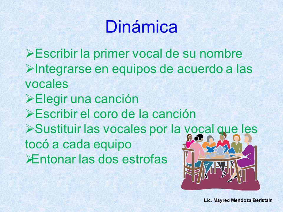 Dinámica Escribir la primer vocal de su nombre Integrarse en equipos de acuerdo a las vocales Elegir una canción Escribir el coro de la canción Sustit