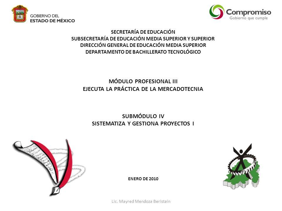 SECRETARÍA DE EDUCACIÓN SUBSECRETARÍA DE EDUCACIÓN MEDIA SUPERIOR Y SUPERIOR DIRECCIÓN GENERAL DE EDUCACIÓN MEDIA SUPERIOR DEPARTAMENTO DE BACHILLERATO TECNOLÓGICO MÓDULO PROFESIONAL III EJECUTA LA PRÁCTICA DE LA MERCADOTECNIA SUBMÓDULO IV SISTEMATIZA Y GESTIONA PROYECTOS I ENERO DE 2010 Lic.