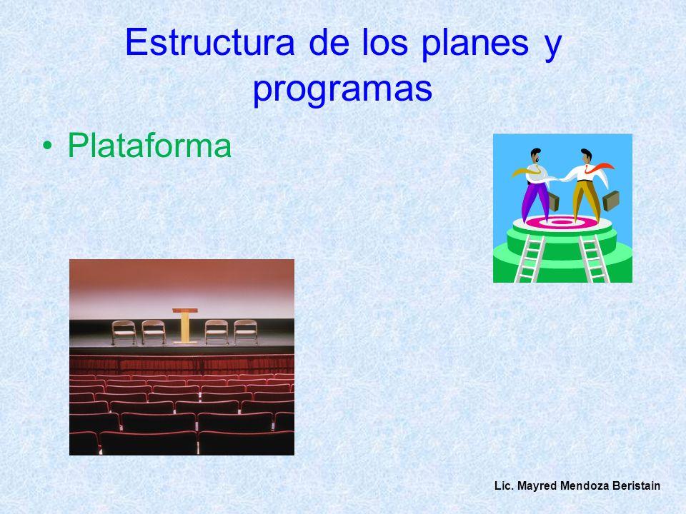 Estructura de los planes y programas Plataforma Lic. Mayred Mendoza Beristain