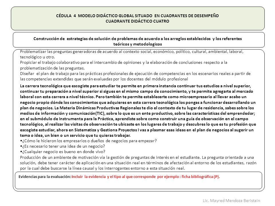 CÉDULA 4 MODELO DIDÁCTICO GLOBAL SITUADO EN CUADRANTES DE DESEMPEÑO CUADRANTE DIDÁCTICO CUATRO Construcción de estrategias de solución de problemas de