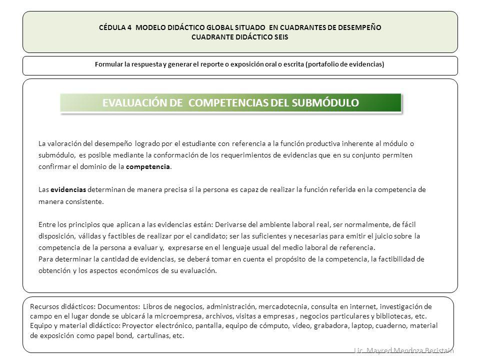 CÉDULA 4 MODELO DIDÁCTICO GLOBAL SITUADO EN CUADRANTES DE DESEMPEÑO CUADRANTE DIDÁCTICO SEIS Formular la respuesta y generar el reporte o exposición oral o escrita (portafolio de evidencias) La valoración del desempeño logrado por el estudiante con referencia a la función productiva inherente al módulo o submódulo, es posible mediante la conformación de los requerimientos de evidencias que en su conjunto permiten confirmar el dominio de la competencia.
