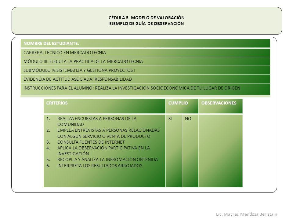 CÉDULA 5 MODELO DE VALORACIÓN EJEMPLO DE GUÍA DE OBSERVACIÓN CRITERIOSCUMPLIOOBSERVACIONES 1.REALIZA ENCUESTAS A PERSONAS DE LA COMUNIDAD 2.EMPLEA ENTREVISTAS A PERSONAS RELACIONADAS CON ALGUN SERVICIO O VENTA DE PRODUCTO 3.CONSULTA FUENTES DE INTERNET 4.APLICA LA OBSERVACIÓN PARTICIPATIVA EN LA INVESTIGACIÓN 5.RECOPILA Y ANALIZA LA INFROMACIÒN OBTENIDA 6.INTERPRETA LOS RESULTADOS ARROJADOS SINO Lic.