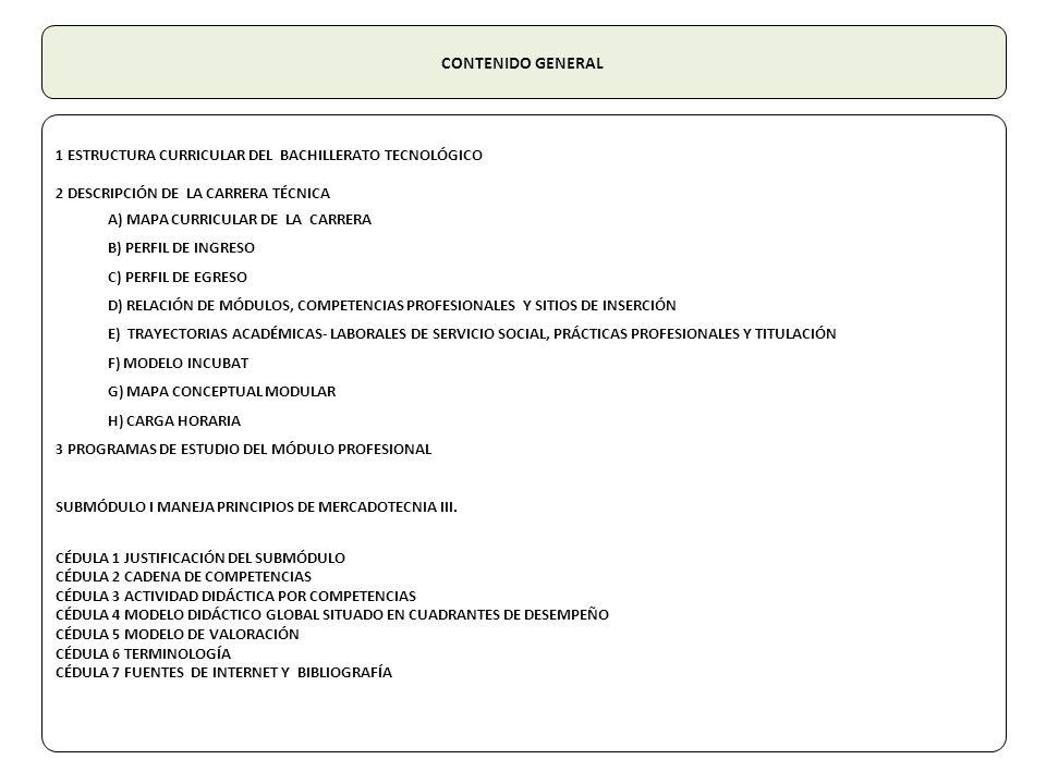 CONTENIDO GENERAL 1 ESTRUCTURA CURRICULAR DEL BACHILLERATO TECNOLÓGICO 2 DESCRIPCIÓN DE LA CARRERA TÉCNICA A) MAPA CURRICULAR DE LA CARRERA B) PERFIL DE INGRESO C) PERFIL DE EGRESO D) RELACIÓN DE MÓDULOS, COMPETENCIAS PROFESIONALES Y SITIOS DE INSERCIÓN E) TRAYECTORIAS ACADÉMICAS- LABORALES DE SERVICIO SOCIAL, PRÁCTICAS PROFESIONALES Y TITULACIÓN F) MODELO INCUBAT G) MAPA CONCEPTUAL MODULAR H) CARGA HORARIA 3 PROGRAMAS DE ESTUDIO DEL MÓDULO PROFESIONAL SUBMÓDULO I MANEJA PRINCIPIOS DE MERCADOTECNIA III.