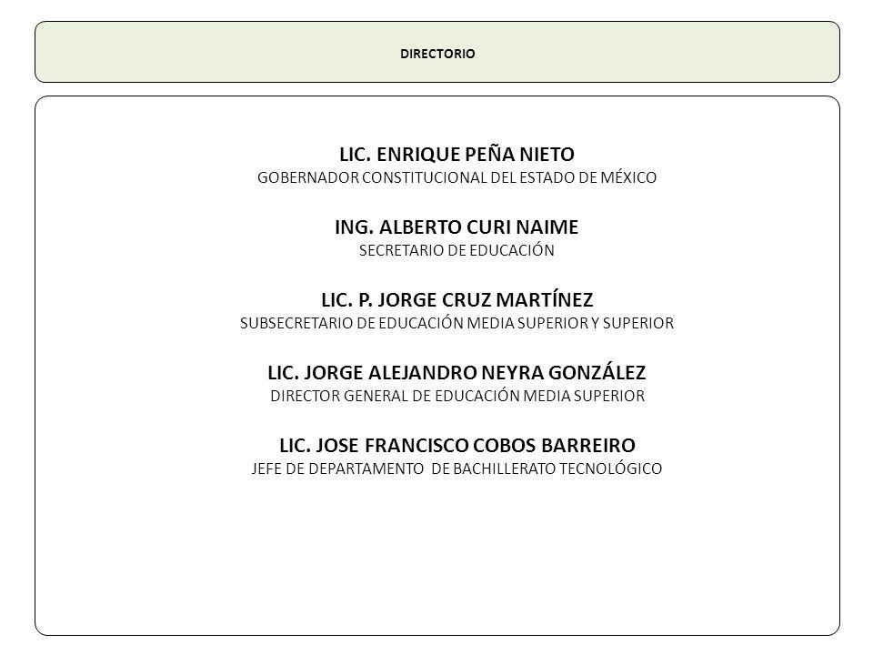 DIRECTORIO LIC. ENRIQUE PEÑA NIETO GOBERNADOR CONSTITUCIONAL DEL ESTADO DE MÉXICO ING. ALBERTO CURI NAIME SECRETARIO DE EDUCACIÓN LIC. P. JORGE CRUZ M