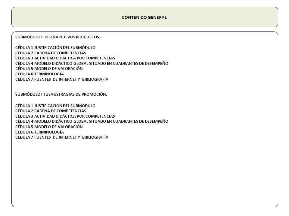 CONTENIDO GENERAL SUBMÓDULO II DISEÑA NUEVOS PRODUCTOS. CÉDULA 1 JUSTIFICACIÓN DEL SUBMÓDULO CÉDULA 2 CADENA DE COMPETENCIAS CÉDULA 3 ACTIVIDAD DIDÁCT