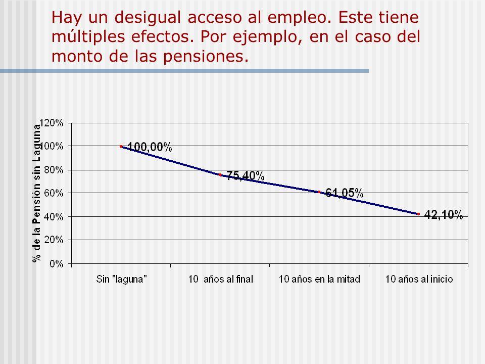 Hay un desigual acceso al empleo. Este tiene múltiples efectos. Por ejemplo, en el caso del monto de las pensiones.