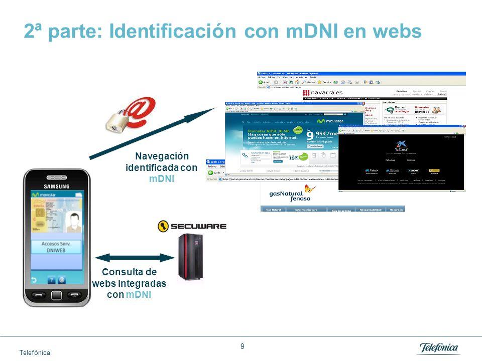 Telefónica 9 2ª parte: Identificación con mDNI en webs Consulta de webs integradas con mDNI Navegación identificada con mDNI
