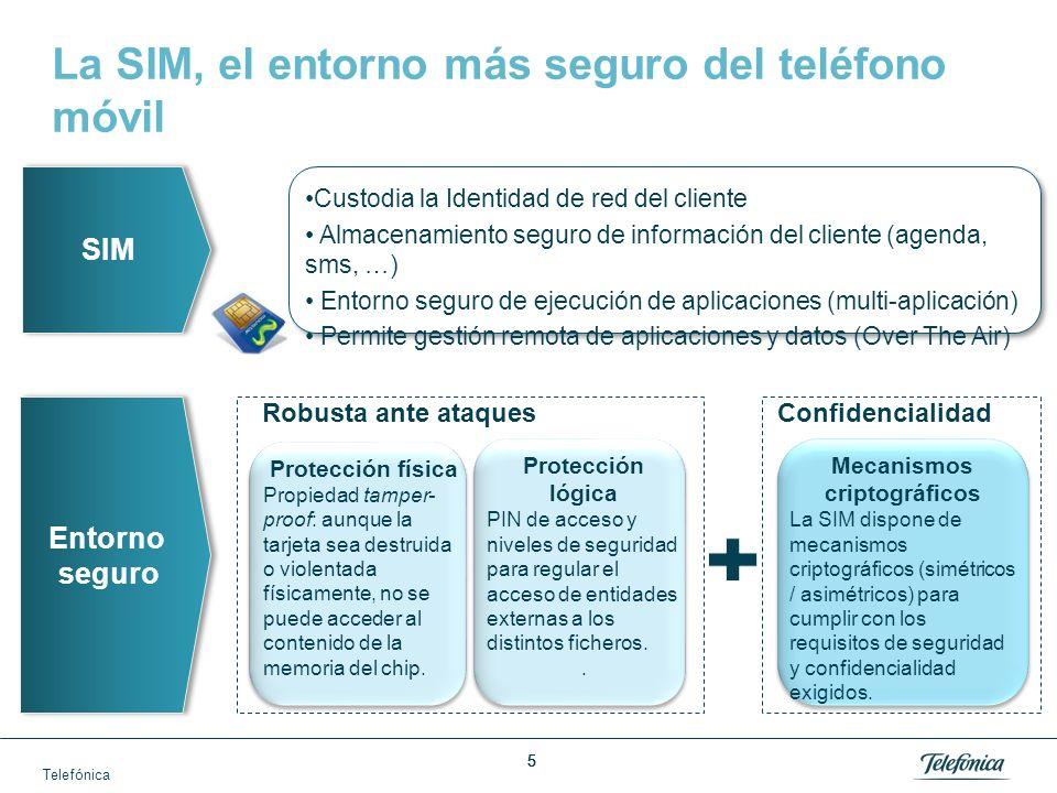 Telefónica 6 Telefónica ya aprovecha el potencial de esta tecnología SIM Red Habilitador de confianza Servicios financieros Almacenamiento seguro de servicios en la SIM y tecnología NFC mDNI Servicios de seguridad La SIM como habilitador de seguridad para acceder a servicios Con estos activos… generamos un… que nos está permitiendo crear: ¡Nuevo .