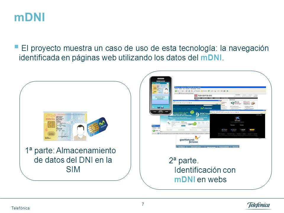 Telefónica 8 1ª parte: Almacenamiento de datos del DNI en la SIM Over The Air (OTA) Verificación Almacenamiento en la SIM Lectura datos DNIe