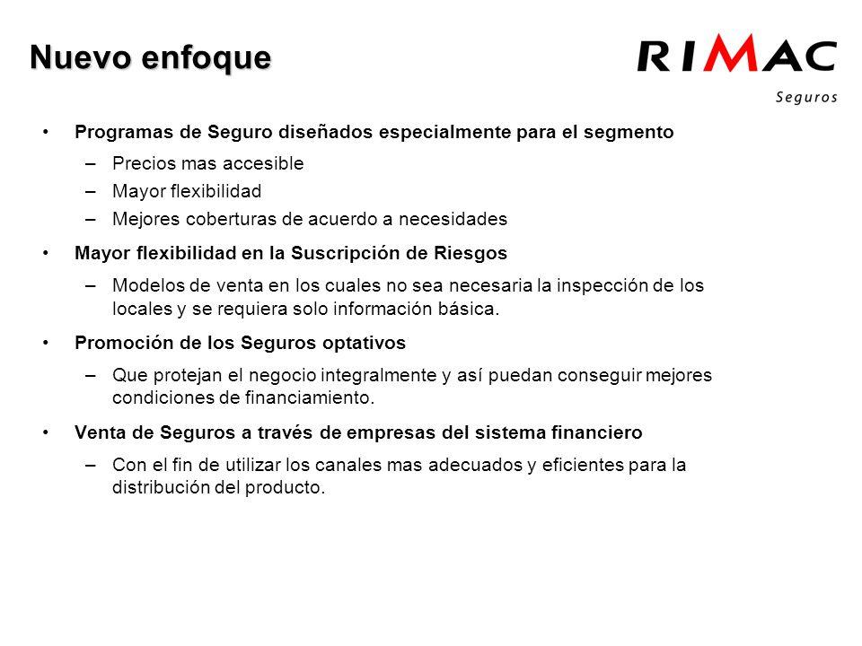 Programas de Seguro diseñados especialmente para el segmento –Precios mas accesible –Mayor flexibilidad –Mejores coberturas de acuerdo a necesidades M