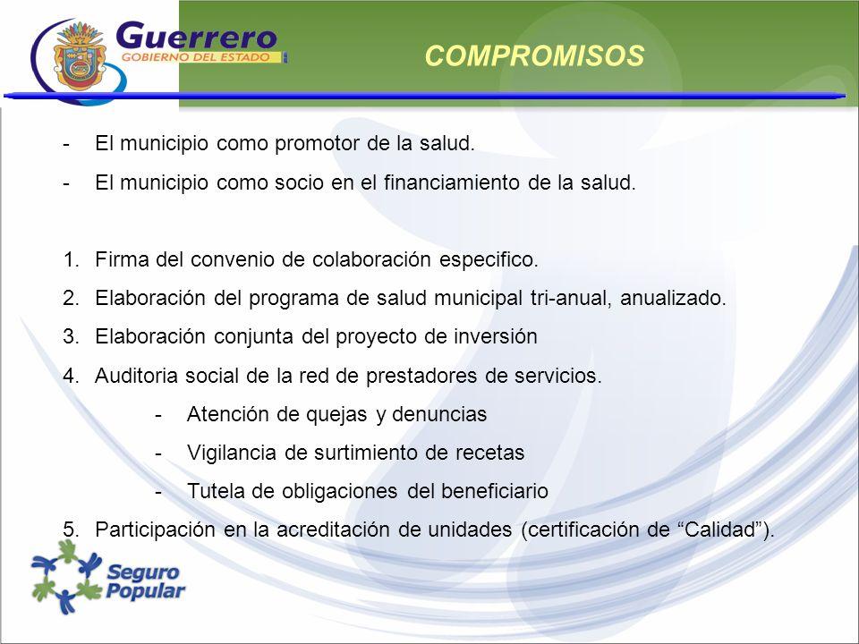 COMPROMISOS -El municipio como promotor de la salud. -El municipio como socio en el financiamiento de la salud. 1.Firma del convenio de colaboración e