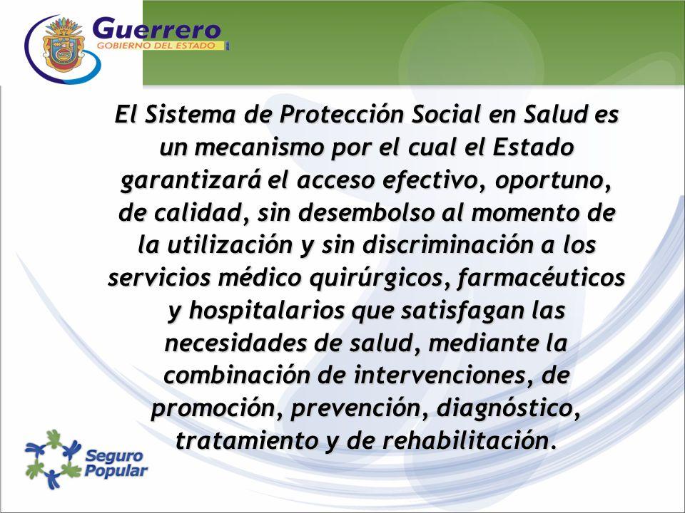 El Sistema de Protección Social en Salud es un mecanismo por el cual el Estado garantizará el acceso efectivo, oportuno, de calidad, sin desembolso al