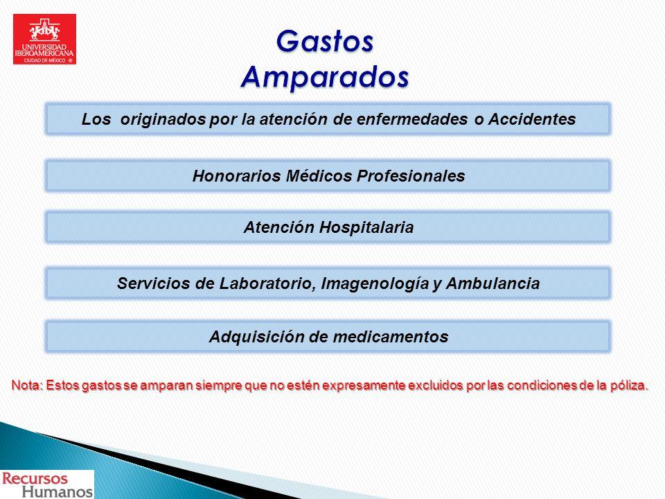 Los originados por la atención de enfermedades o Accidentes Honorarios Médicos Profesionales Atención Hospitalaria Servicios de Laboratorio, Imagenolo