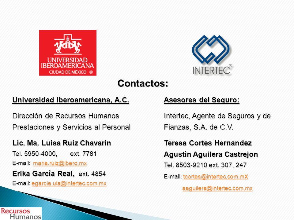 Universidad Iberoamericana, A.C. Dirección de Recursos Humanos Prestaciones y Servicios al Personal Lic. Ma. Luisa Ruiz Chavarin Tel. 5950-4000, ext.