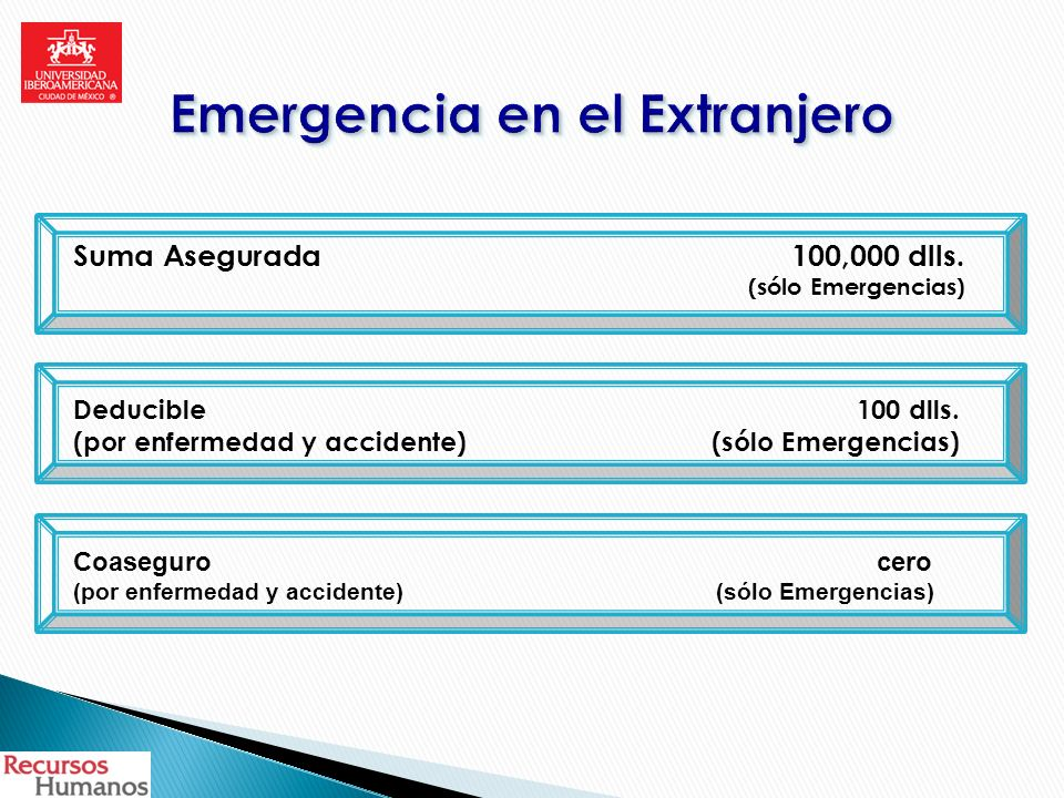 Suma Asegurada100,000 dlls.(sólo Emergencias) Deducible 100 dlls.