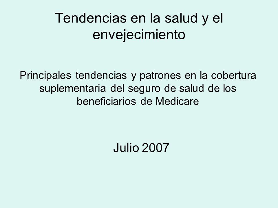 Tendencias en la salud y el envejecimiento Julio 2007 Principales tendencias y patrones en la cobertura suplementaria del seguro de salud de los beneficiarios de Medicare
