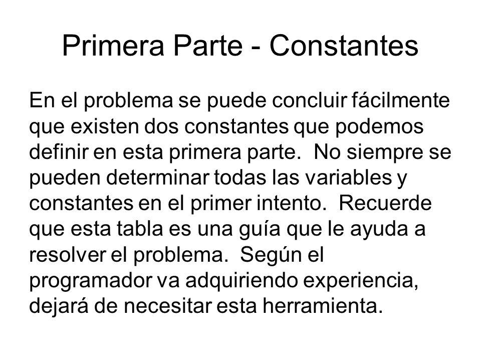 Primera Parte - Constantes En el problema se puede concluir fácilmente que existen dos constantes que podemos definir en esta primera parte. No siempr
