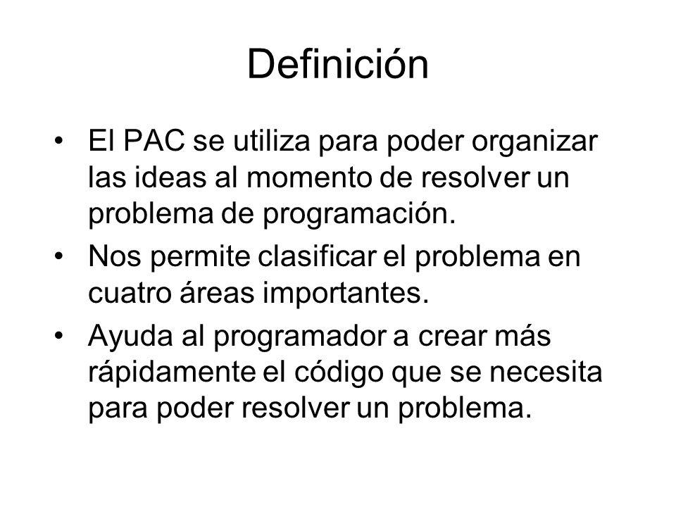 Definición El PAC se utiliza para poder organizar las ideas al momento de resolver un problema de programación.