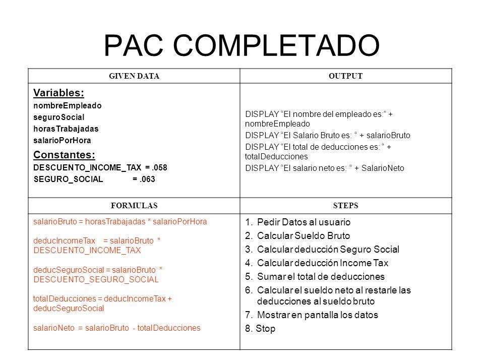 PAC COMPLETADO GIVEN DATAOUTPUT Variables: nombreEmpleado seguroSocial horasTrabajadas salarioPorHora Constantes: DESCUENTO_INCOME_TAX =.058 SEGURO_SOCIAL =.063 DISPLAY El nombre del empleado es: + nombreEmpleado DISPLAY El Salario Bruto es: + salarioBruto DISPLAY El total de deducciones es: + totalDeducciones DISPLAY El salario neto es: + SalarioNeto FORMULASSTEPS salarioBruto = horasTrabajadas * salarioPorHora deducIncomeTax = salarioBruto * DESCUENTO_INCOME_TAX deducSeguroSocial = salarioBruto * DESCUENTO_SEGURO_SOCIAL totalDeducciones = deducIncomeTax + deducSeguroSocial salarioNeto = salarioBruto - totalDeducciones 1.Pedir Datos al usuario 2.Calcular Sueldo Bruto 3.Calcular deducción Seguro Social 4.Calcular deducción Income Tax 5.Sumar el total de deducciones 6.Calcular el sueldo neto al restarle las deducciones al sueldo bruto 7.Mostrar en pantalla los datos 8.