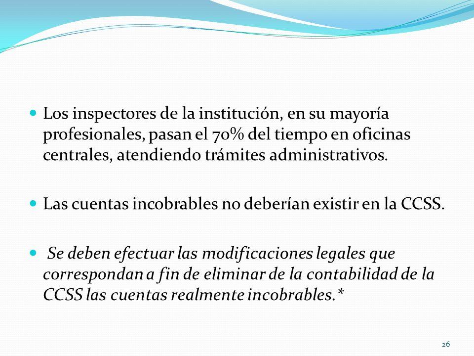 Los inspectores de la institución, en su mayoría profesionales, pasan el 70% del tiempo en oficinas centrales, atendiendo trámites administrativos. La