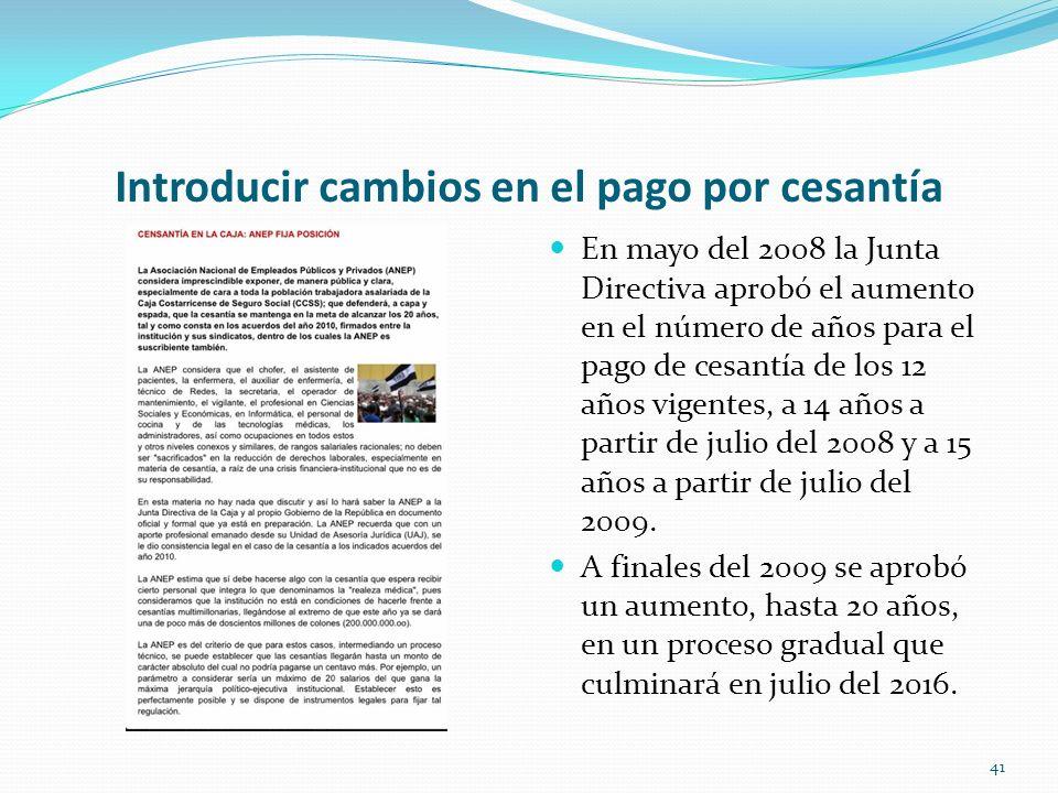 Introducir cambios en el pago por cesantía En mayo del 2008 la Junta Directiva aprobó el aumento en el número de años para el pago de cesantía de los
