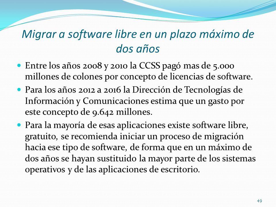 Migrar a software libre en un plazo máximo de dos años Entre los años 2008 y 2010 la CCSS pagó mas de 5.000 millones de colones por concepto de licenc