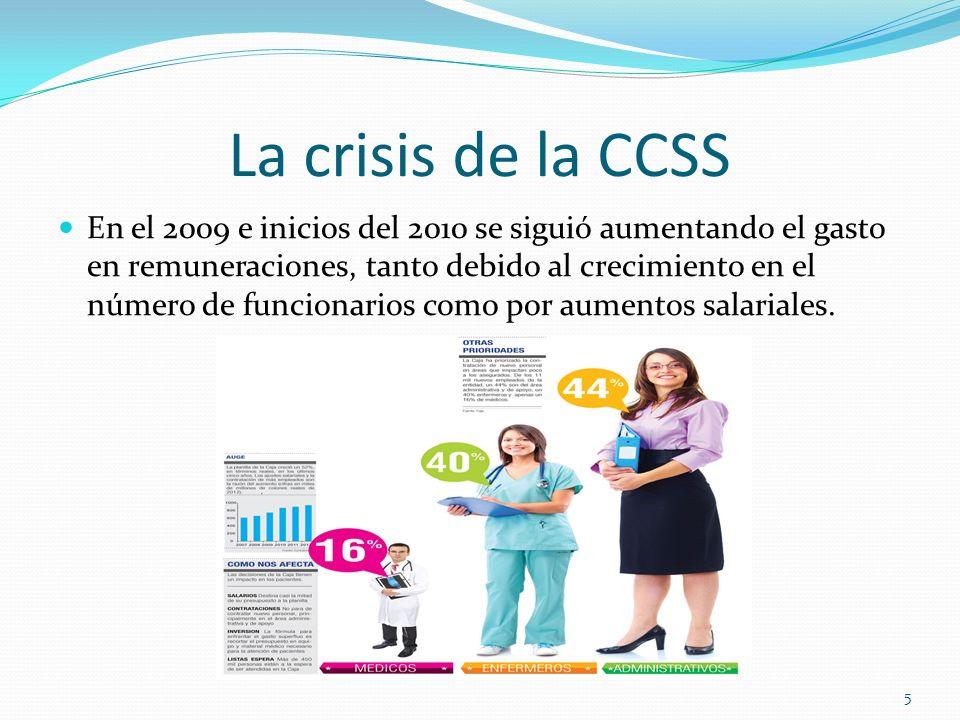 La crisis de la CCSS En el 2009 e inicios del 2010 se siguió aumentando el gasto en remuneraciones, tanto debido al crecimiento en el número de funcio