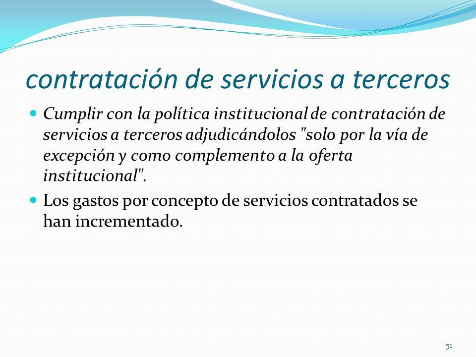 contratación de servicios a terceros Cumplir con la política institucional de contratación de servicios a terceros adjudicándolos